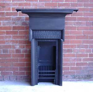 Antique Aesthetic Movement Cast Iron Combination Fireplace