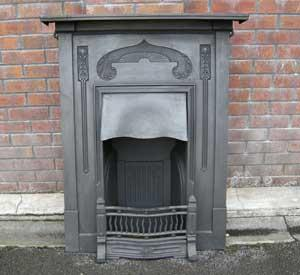 Antique Arts & Crafts Cast Iron Combination Fireplace