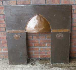 Arts and Crafts beaten copper fireplace insert