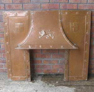 Antique Arts & Crafts Copper Fireplace insert