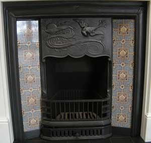 i189 Arts and Crafts Tiled Cast Iron Fireplace Insert