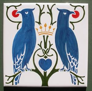 Arts & Crafts Voysey Love Birds and Heart Fireplace Tiles