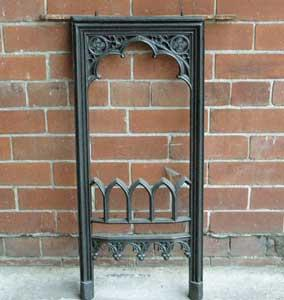 Antique Gothic Cast Iron Fireplace Insert