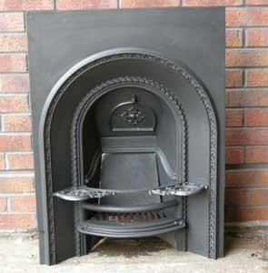 Antique Early Victorian Arched Cast Iron Fireplace Insert