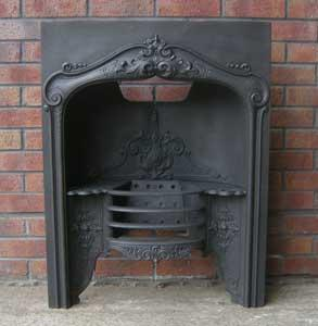 Antique Georgian Hobbed Cast Iron Fireplace Insert
