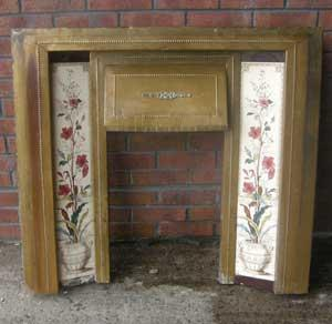 Antique Edwardian Tiled Brass Fireplace Insert