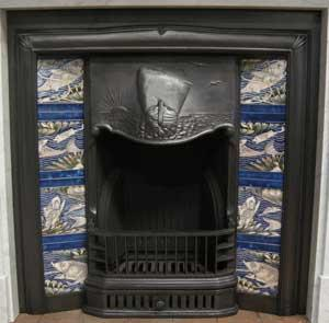 The Ship Arts & Crafts Tiled Cast Iron Fireplace Insert
