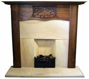 Royale Carved Walnut Nouveau Fireplace Surround