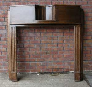 Antique Art Deco Oak Fireplace Surround