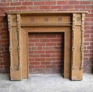 Antique Aesthetic Movement Pine Fireplace Surround